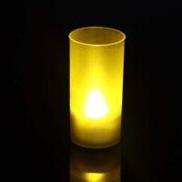 Wholesale Tea Sound - 1 PC Shake Sound Romantic Flameless Blow Sensor LED Candle Tea Light Semitransparent Cup LED Candle Light new arrival