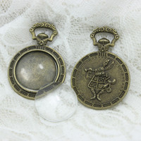 Wholesale Bronze Blanks - 8 set Antique Bronze Alloy Cameo Rabbit 28*41mm Fit 20mm dia Round Pendant Blanks Setting Cabochon+Clear Glass Cabochons A4207-1