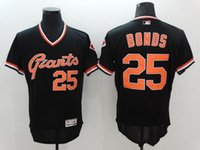 Wholesale Giants Rugby - san francisco giants #25 barry bonds Retro Black Flex base Cheap Rugby Jerseys Authentic Stitched Size M-XXXL Baseball jerseys