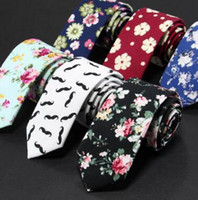 Wholesale skinny flat ties - Fashion Men cotton Neck Ties flower tie Men's casual Solid kintted Narrow Design Flat-end Necktie Neck Ties 6 cm MOQ 30 pcs