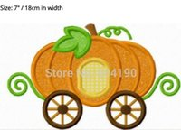 "Wholesale Princess Carriages - 7"" LARGE Cinderella Princess pumpkin carriage Children day dress Applique Film TV MOVIE Cartoon Embroidered Patch Badge"