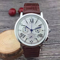 Wholesale Best Brand Men Watches Calendar - All dials working Stopwatch Men Watch Luxury Watches With Calendar Leather Strap Top Brand Quartz Wristwatch for men High Quality Best Gift