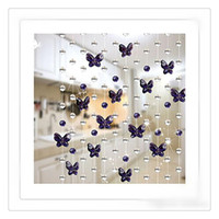 Wholesale Glass Bead Window Curtains - Wholesale Wedding Crystal Beads Chains Curtain Glass Crystal Window Passage Wedding Backdrop Violet Butterfly Bead Curtain Free DHL