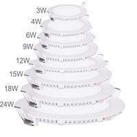 downlight mince achat en gros de-Le panneau ultra mince de Downlight de panneau de LED 3w 4w 6w 9w 12w 15w 18w rond / place a enfoncé le plafond de la lumière LED de panneau lumineux AC85-265V LED SMD2835