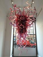 araña de cristal moderna bricolaje al por mayor-Moderno Diy Pink Chandelier envío gratis estilo Chihuly boca soplado cristal cristal LED para comedor