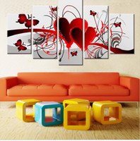 Wholesale Oil Painting Red Love Heart - Home Decor Hand Painted Red Love Heart Butterfly Oil Painting Living Room Wall Painting 5 Pieces Canvas Art Pintura