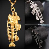 Wholesale Fish Necklace Men - Fancy Fish Skeleton Pendant Necklace 316L Stainless Steel 18K Real Gold Plated Unique Design Men Jewelry