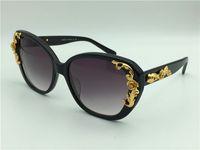 Wholesale Baroque Round Sunglasses - new fashion sunglasses 4167 Baroque style cat eye frame women brand designer sunglasses italian designer gold plated butterfly frame