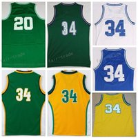 Wholesale Film Blue Ray - Men Retro 20 Ray Allen Jersey 1998 Film lincoln 34 Jesus Shuttleswort School Jerseys Throwback White Green Yellow Purple With Player Name