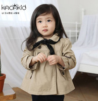 Wholesale Trench Coat Scarf - Baby girls trench coat with polka dots triangular scarf toddler kids double falbala collar outwear Enland style children princess warp R053