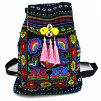 Wholesale Hmong Bags - Wholesale- Tribal Vintage Hmong Thai Indian Ethnic Embroidery Bohemian rucksack Boho hippie ethnic bag backpack bag L size SYS-170B