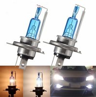 Wholesale Motor Moto Scooter - H4 DC 12V Moto Car Halogen Bulb Hi Lo Beam 6000K P43t Scooter Moto Headlight Xenon Blue Glass Super White Motor Light Sourse