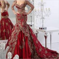 kleide zwei eine quinceanera großhandel-2018 lange formale zwei Stücke Abendkleider Arabisch Burgund Rotwein mit Goldspitze Applique V-Ausschnitt Vestidos Mermaid Custom