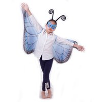 Wholesale Capes For Costumes - 9 Colors Fanciful Fabric Wings Monarch Butterfly Cape with Mask and headband 3 pcs set for Kids Christmas Halloween Cosplay Prop Costume