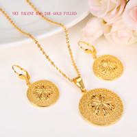 ingrosso la collana stabilisce i disegni-24k Solid Fine Gold Filled New Blossom Moda Ethiope Jewelry Set Collana pendente Design orecchino a cerchio