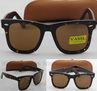 Wholesale Glasses Cases For Sale - Vassl Hot Sale Fashion Sports Sunglasses Metal Hinge Unisex Sunglasses Tortoise Frame brown Lens 50MM Glass Lens Sunglasses For Brown Case