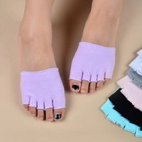 Wholesale Open Football - Half Five Fingers Cotton Half Toe Yoga Socks Non-Slip Peep Toe Anti-Slip Pilates Ankle Grip Durable Open Yoga Socks Fashion sports socks