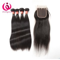 Wholesale Derun Human Weave - Indian Human Hair Extensions With Closure 100% Unprocessed Indian Virgin Hair Lace Closure Bundles Derun Cheap Raw Indian Hair Weave