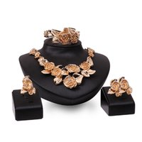 Wholesale Indian Wedding Flower Jewellery - Wholesale! 4pcs Jewelry Sets Exaggerated Crystal Rose Flower Pendant Necklace Bracelets Earrings Rings For Women Ladies Fashion jewellery