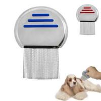 Wholesale Pet Fleas - Stainless Steel Lice Round Comb Non-slip Handle Nit Free Terminator Pet Dog Cat Louse Flea Remove Round Lice Comb CCA6666 500pcs