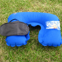 office travel pillow Canada - 3 in1 Travel Set Inflatable Neck Air Cushion Pillow + eye mask + 2 Ear Plug Comfortable trip Office Set Inflatable Air Cushion 2531015