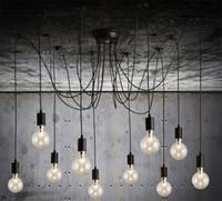 örümcek tavan aydınlatması toptan satış-Kolye Aydınlatma Modern İskandinav Retro Asılı Lambaları Avize Edison Ampul Fikstür Örümcek Tavan Lambası Fikstür Işık Oturma Odası için