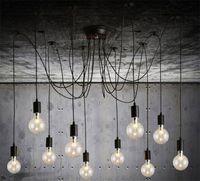 Wholesale Halogen Bulbs For E27 - Pendant Lighting Modern Nordic Retro Hanging Lamps Chandelier Edison Bulb Fixtures Spider Ceiling Lamp Fixture Light for Living Room