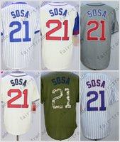 Wholesale Cheap Green Shorts - Sammy Sosa Jersey, Cheap Chicago 21# Baseball Jersey, Stitched High Quality Beige Blue Gray Green White