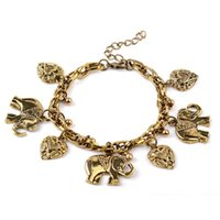 Wholesale Bronze Pendant Clasp - Vintage Shiny Bronze Color Lovely Elephant Charm Bracelet Fashion Silver Heart Pendant Jewelry With 5cm Extension Chain
