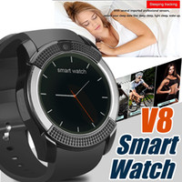 Wholesale Apple Iphone Boxes - V8 Smartwatch Bluetooth Smart Watch With 0.3M Camera SIM And TF Card Watch For Android System S8 IOS Iphone Smartphone In Box