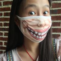 lustige mundmasken großhandel-5 Stücke Kreative Lustige Baumwolle Spaß Grimasse Anti Staubmasken Atemschutzmaske Gesicht Mund Maske Party Halloween Maskerade Frau Mann