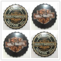 Wholesale Vintage Antique Bottles - Harley Davidson Round Vintage tin sign 35cm Round GENUINE MOTORCYCLES MOTOR Embossed Beer Bottle Cap Metal sign bar poster 3D style