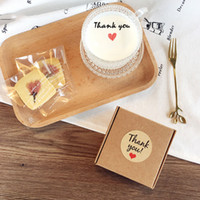 Wholesale Tags Labels Hand Made - 100 Pcs Candy paper tags Thank You love self-adhesive stickers kraft label sticker For Candy Boxes DIY Hand Made Gift Cake