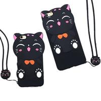 caso silicone 3d samsung venda por atacado-Novo 3d afortunado gato soft silicone borracha case capa com cordão para iphone 6 6 s 7 plus samsung s6 s7 edge a7100 a5100