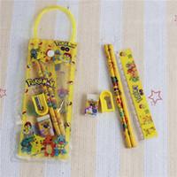 Wholesale Kid Ruler Stationery - Poke pikachu stationery set bag case PVC Transparent pencil storage bags for kids cartoon pencil sharpener+eraser+2pencil+ruler+note book