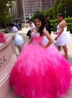 Wholesale gold prices year - Ball Gown Quinceanera Dresses Pink Red Fuchsia Sweet 15 Years Sleeveless Sweetheart Neck Beading Crystals Cheap Price Wonderful Hot Sale