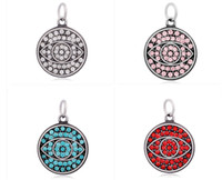 Wholesale Evil Eye Charms Round - Lastest Design 4 Color Crystal Eye of Evil Religion Stainless Steel Round Shape Pendant Jewelry