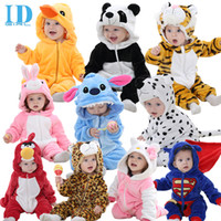 Wholesale Rompers Black White - 12 styles baby Flannel Rompers Spring Autumn Baby Clothes Cartoon Animal Jumpsuit Girl Rompers Baby Clothing wholesale