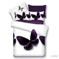 3d bedding set großhandel-Großhandels-Heimtextilien, pupre Schmetterlingsart 3D-Bettwäsche-Sets 4Pcs Queen-Size-Bettdecke / Decke decken Bettlaken Kissenbezug