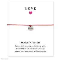 Wholesale Mom Cards - Silver Tone Mom Heart Disc Dad Charm Bracelets & Bangles Gifts For Women Girls Adjustable Friendship Statement Jewelry Card