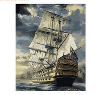 Wholesale Diy Oil Paint Numbers - Seascape Sailing Boat Europe Art Canvas Painting DIY Painting By Numbers Oil Painting On Canvas Home Decor 40*50cm
