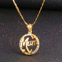 Wholesale Mum Necklaces - U7 Perfect Gift for Mum Pendant Necklace Trendy Gold Plated Fashion Rhinestone Jewelry Perfect Pendants Accessories Mother's Day Gifts