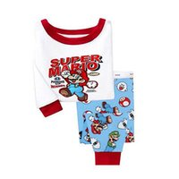 Wholesale New Super Mario Clothes - Wholesale- 2016 New Baby Kids Boys Girls 2pcs Long sleeve Cartoon Super Mario Printed Sleepwear Outfits Pyjama Clothes Set 2-8Y