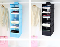 Wholesale closet door styles - Hot 9 Cell Hanging Box Underwear Sorting Clothing Shoe Jean Storage Mails Door Wall Closet Organizer Closet Organizador Bag
