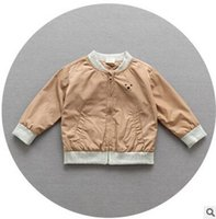 Wholesale Baby Boy Bear Jacket - Children fashion cardigan 2017 new autumn baby boys printed cotton bears outwears toddler kids long sleeve clothes C1048