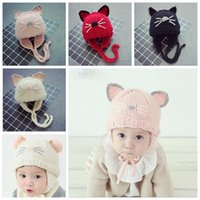 Wholesale Christmas Hats For Infants - Winter Baby Knitted Beanies Cute Cat Ears BeanieCap Ear Protection Hat For Girls boys Handmade Crochet Beanie 6M-3T Infant YYA483
