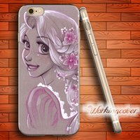 Étui Silicone Princesse Iphone Pas Cher-Coque Tangled Princess ACDC Soft Clear Case TPU pour iPhone 7 6 6S Plus 5S SE 5 5C 4S 4 Housse en silicone.