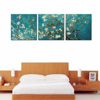 Wholesale Artwork Reproductions - 3 Panels Almond Blossom Canvas Print Artwork by Classic Van Gogh Reproductions Flowers Picture Wall Art for Home Decor with Framed