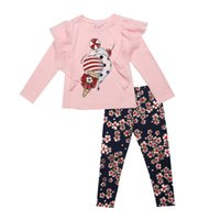 Wholesale Cute Tops For Winter - Wholesale- 2016 fashion Monnalisa Boutique Outfits For kids Girls Sets With Cute Print Long Sleeve Tops +floral legging clothes suits