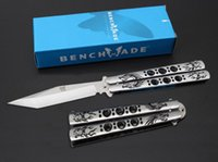 Chasse Au Porc En Gros Pas Cher-Vente en gros Chine JL16 Benchmade Butterfly Balisong Couteau 55HRC 3Cr13Mo Dragon Tiger Pattern Jilt Free-Swinging Hunting Knife B261Q